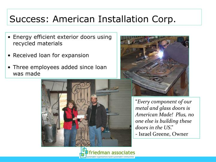 Success: American Installation Corp.