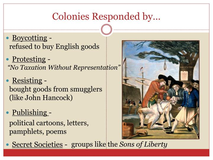 Colonies Responded by…