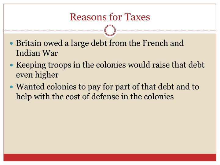Reasons for Taxes