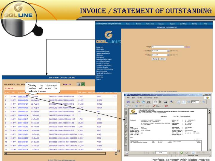 invoice / statement of outstanding