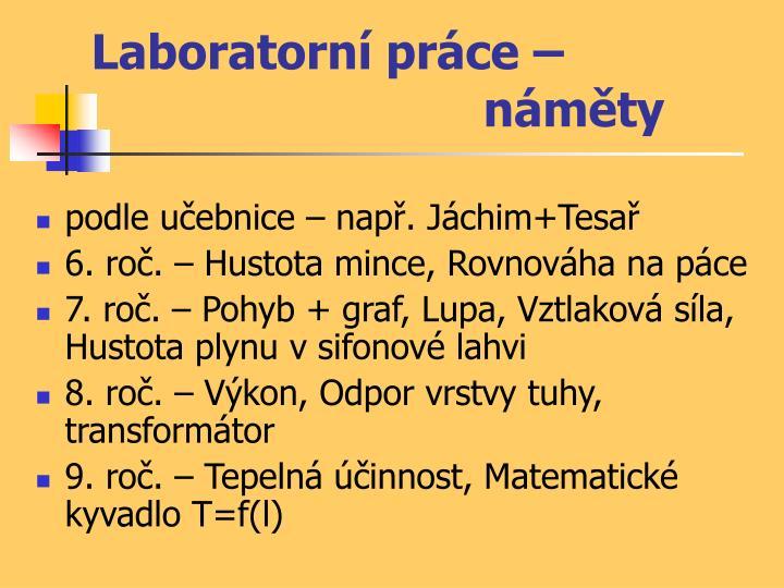 Laboratorní práce – náměty
