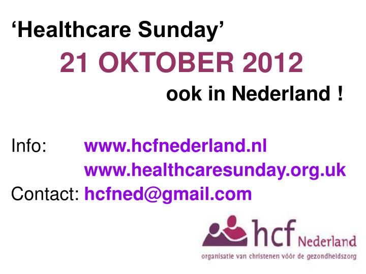 'Healthcare Sunday'