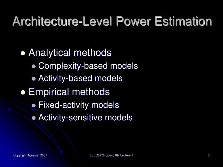 Architecture level power estimation