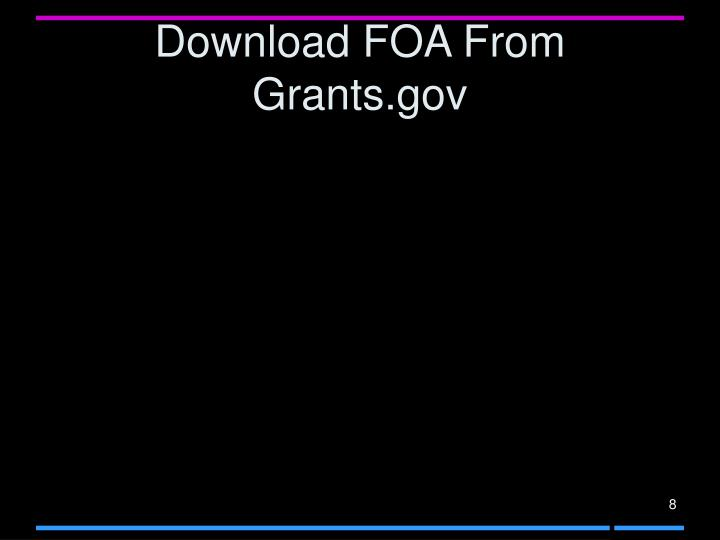 Download FOA From Grants.gov