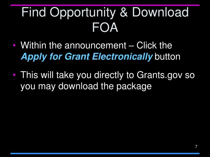Find Opportunity & Download FOA