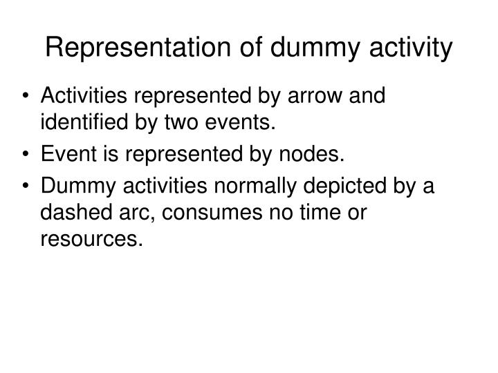 Representation of dummy activity