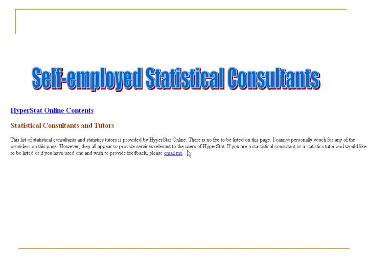 Self-employed Statistical Consultants