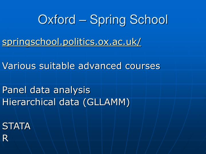 Oxford – Spring School