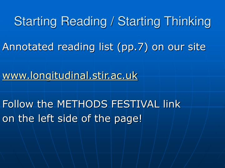 Starting Reading / Starting Thinking