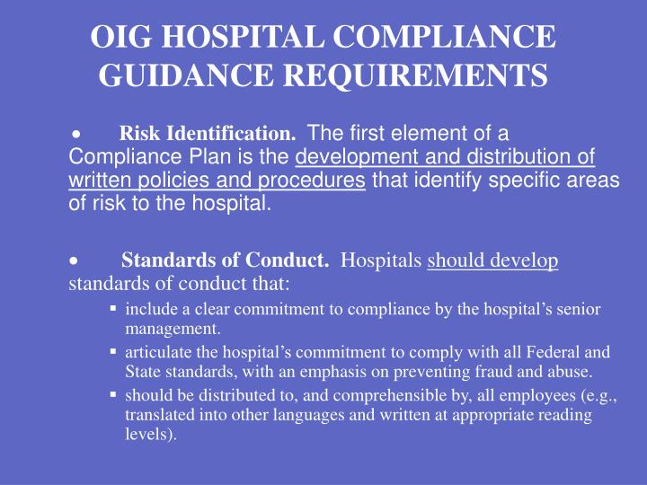 OIG HOSPITAL COMPLIANCE GUIDANCE REQUIREMENTS