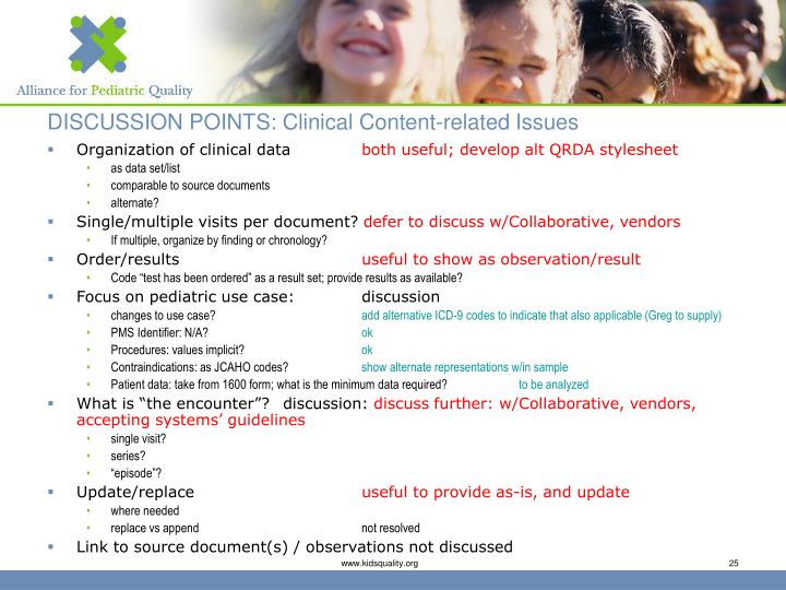 DISCUSSION POINTS: Clinical Content-related Issues
