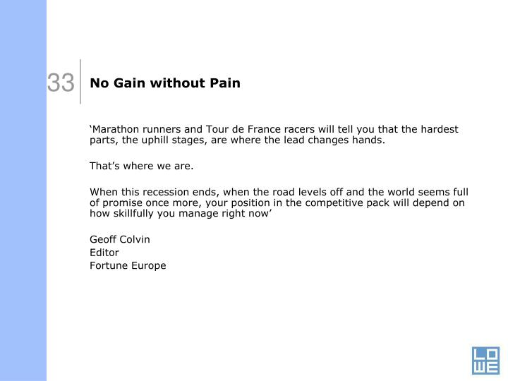 No Gain without Pain