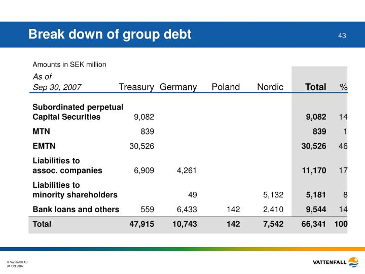 Break down of group debt