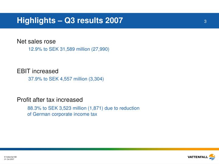 Highlights q3 results 2007