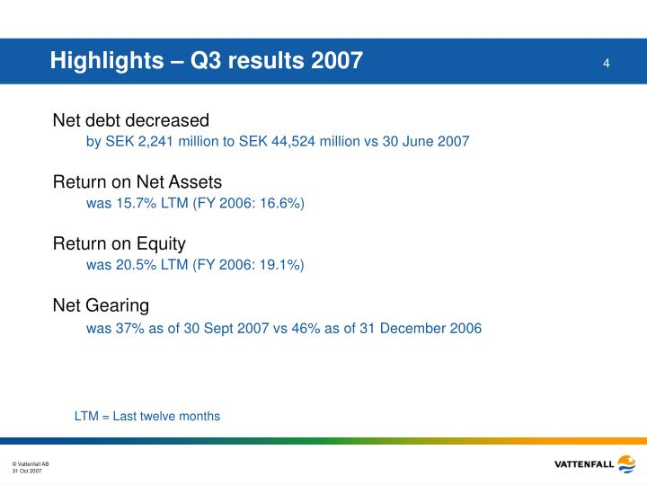 Highlights – Q3 results 2007