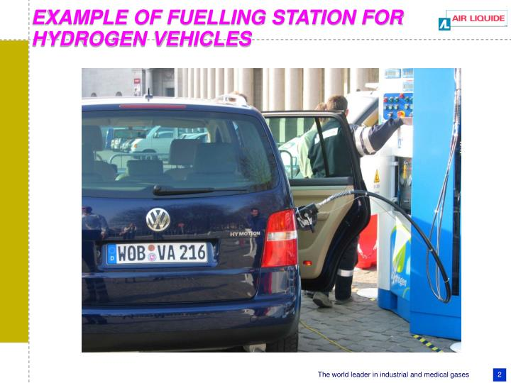 EXAMPLE OF FUELLING STATION FOR HYDROGEN VEHICLES