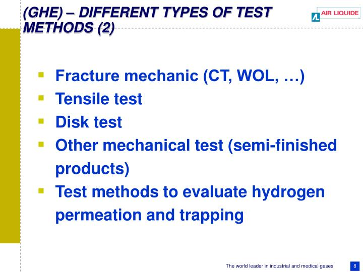 (GHE) – DIFFERENT TYPES OF TEST METHODS (2)