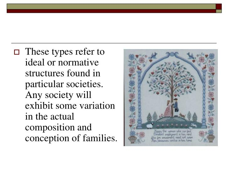 These types refer to ideal or normative structures found in particular societies. Any society will exhibit some variation in the actual composition and conception of families.