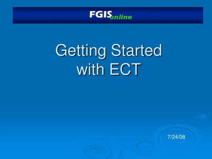 getting started with ect n.