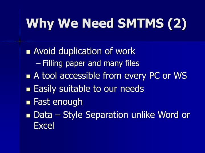 Why We Need SMTMS (2)