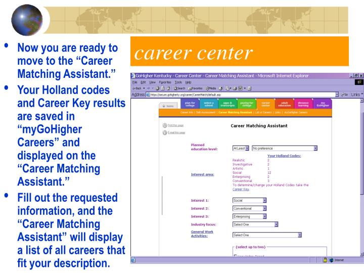 """Now you are ready to move to the """"Career Matching Assistant."""""""
