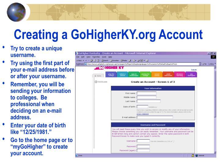 Creating a gohigherky org account