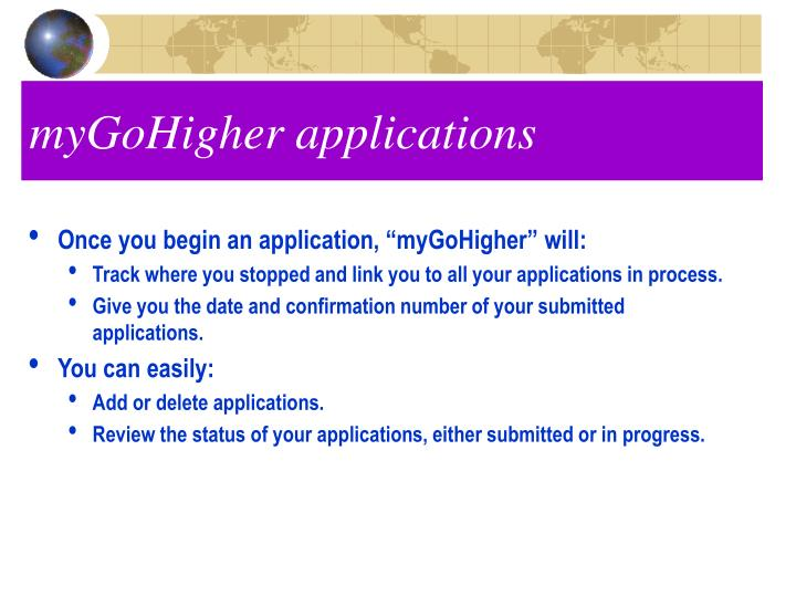 myGoHigher applications