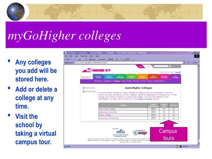 myGoHigher colleges