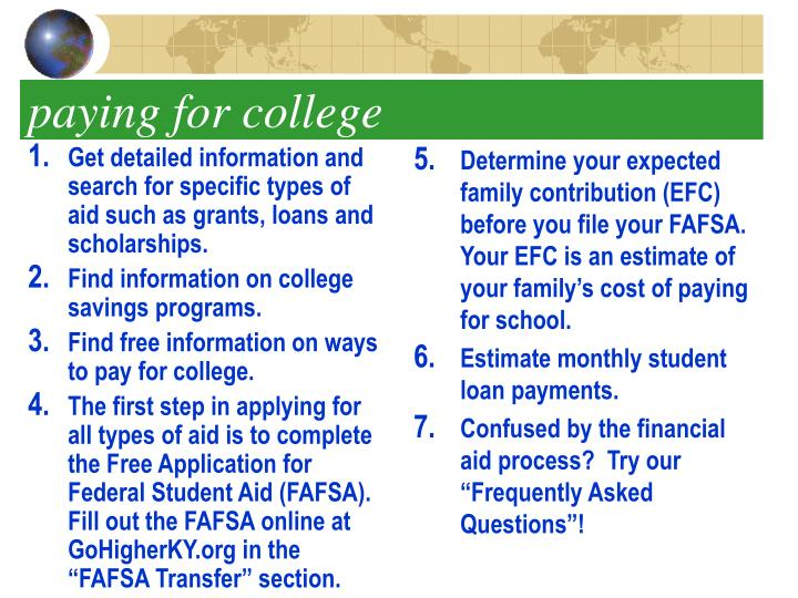 Get detailed information and search for specific types of aid such as grants, loans and scholarships.