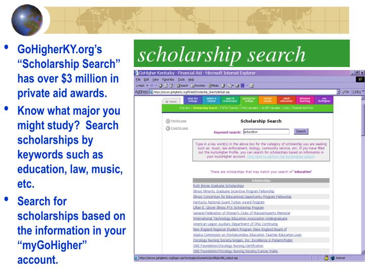"""GoHigherKY.org's """"Scholarship Search"""" has over $3 million in private aid awards."""
