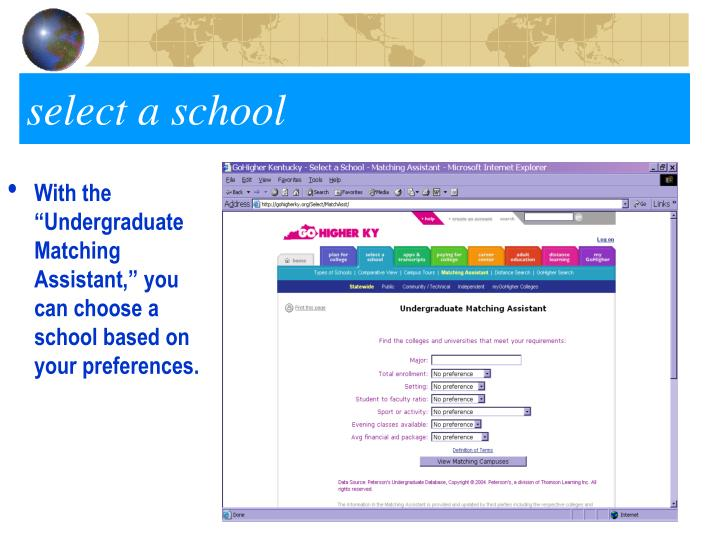 """With the """"Undergraduate Matching Assistant,"""" you can choose a school based on your preferences."""