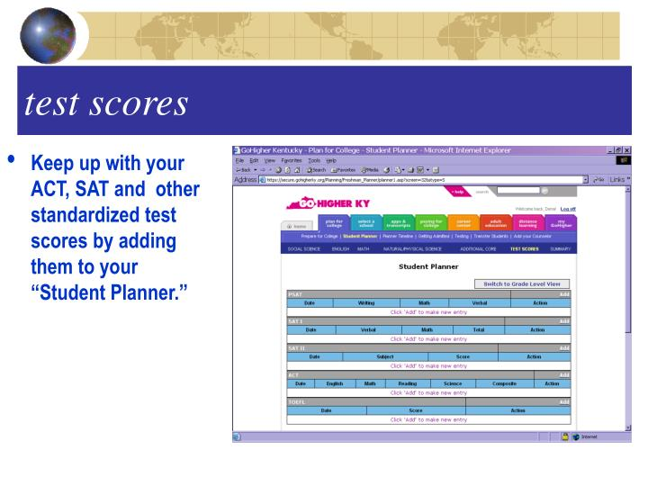 """Keep up with your  ACT, SAT and  other standardized test scores by adding them to your """"Student Planner."""""""