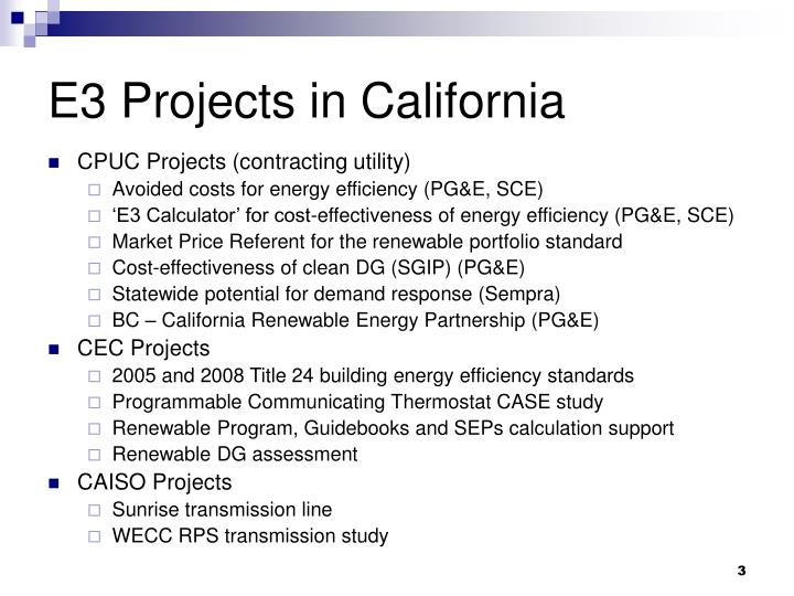 E3 projects in california