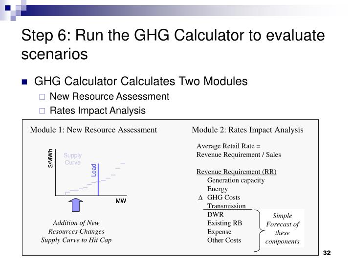 Step 6: Run the GHG Calculator to evaluate scenarios