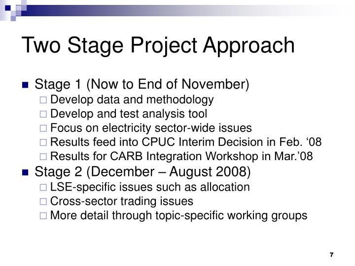 Two Stage Project Approach