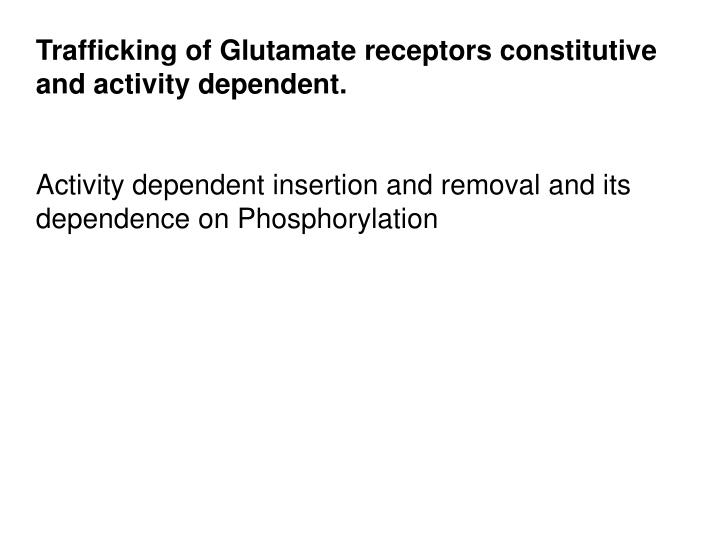 Trafficking of Glutamate receptors constitutive and activity dependent.