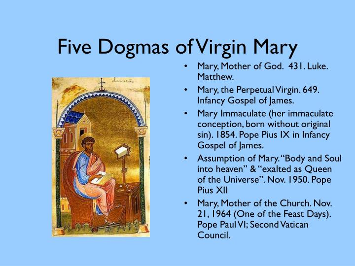 Five dogmas of virgin mary