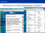 growing list of next generation vendors