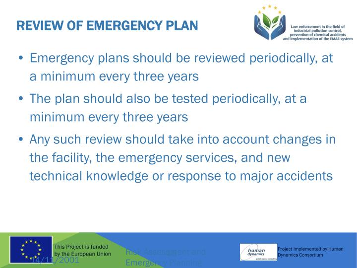 Review of Emergency Plan