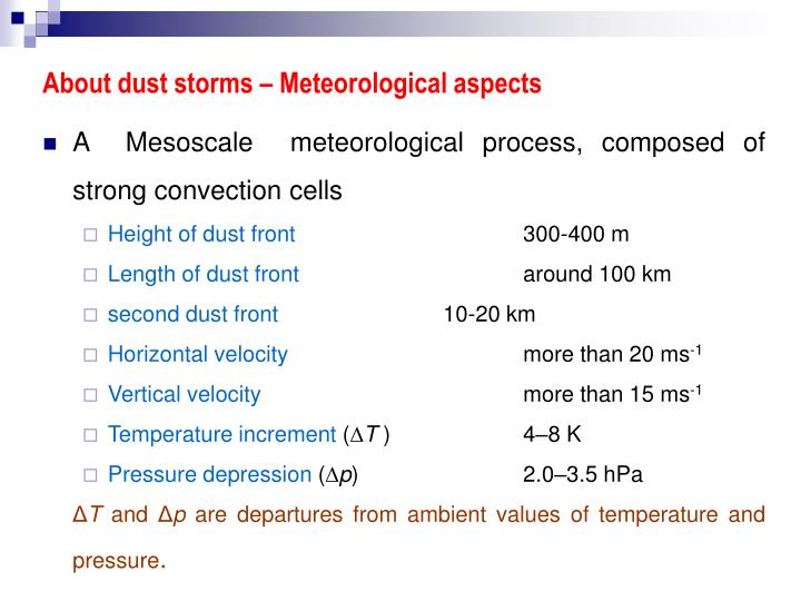 About dust storms – Meteorological aspects