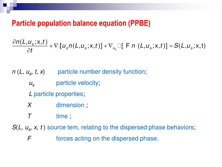 Particle population balance equation (PPBE)