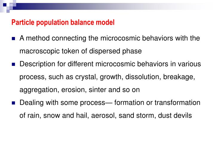 Particle population balance model