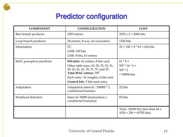 Predictor configuration