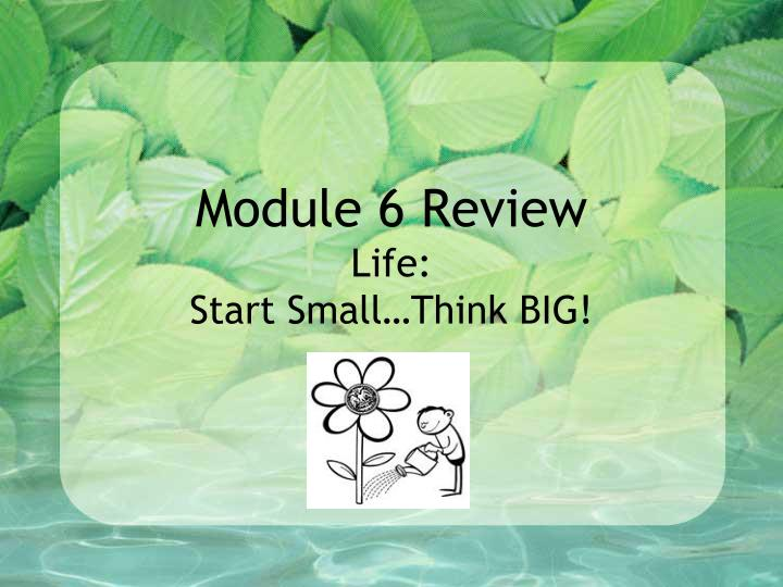 module 6 review life start small think big n.