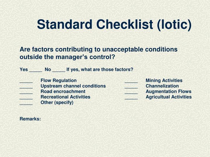 Standard Checklist (lotic)