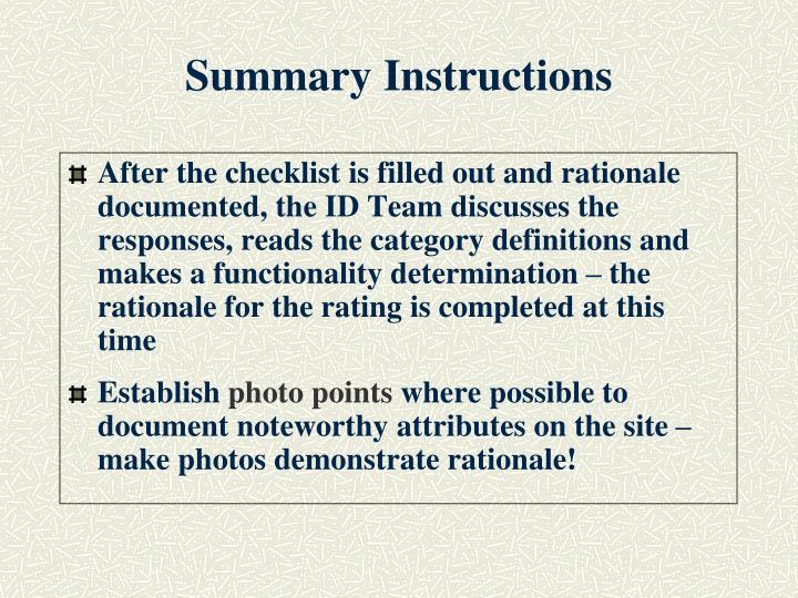 Summary instructions