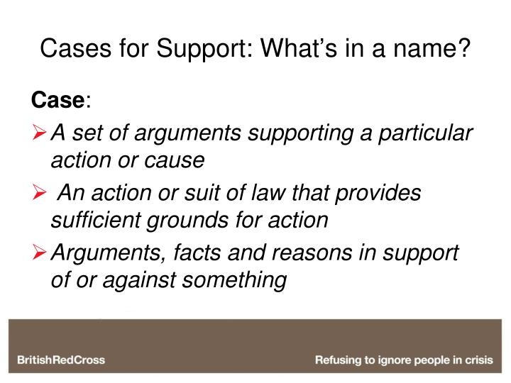 Cases for support what s in a name
