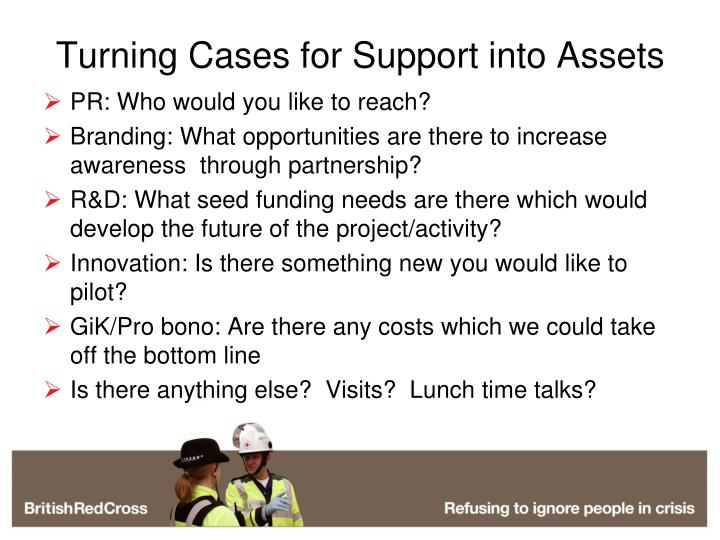 Turning Cases for Support into Assets