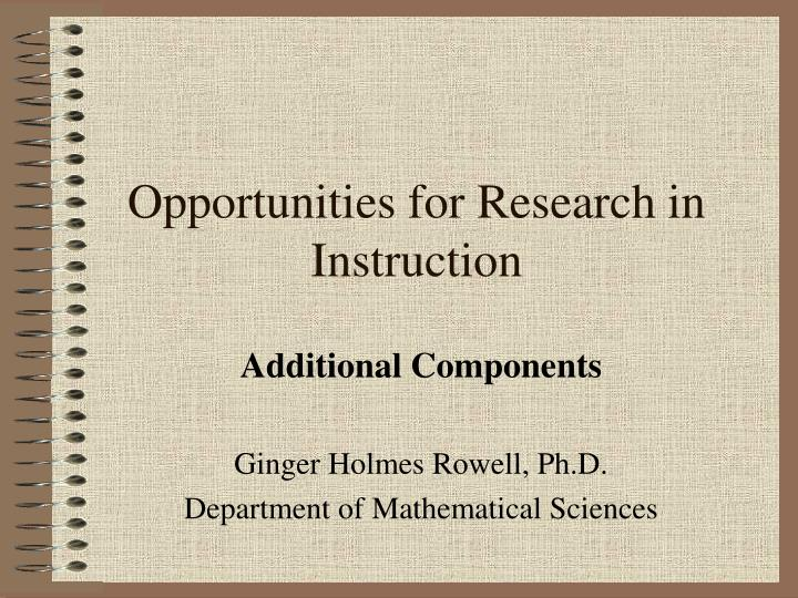 opportunities for research in instruction