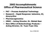 2003 accomplishments office of pharmaceutical science
